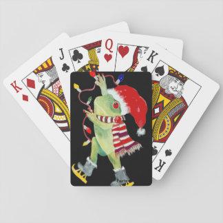 Cartas De Baralho Cartões de jogo do sapo do Natal