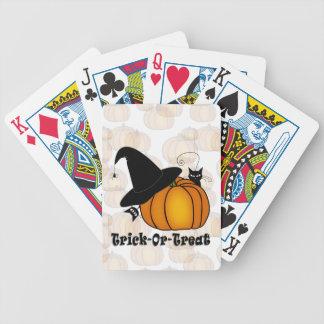 """Cartas De Baralho """"Doçura ou travessura! Da """"O chapéu bruxa, gatos,"""