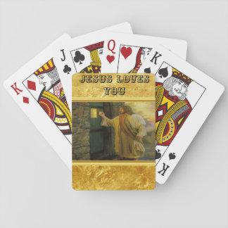 Cartas De Baralho Jesus em sua porta com um design da folha de ouro