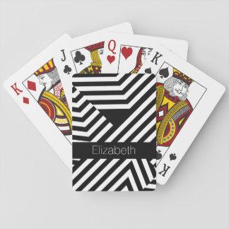 Cartas De Baralho Listras geométricas preto e branco na moda com