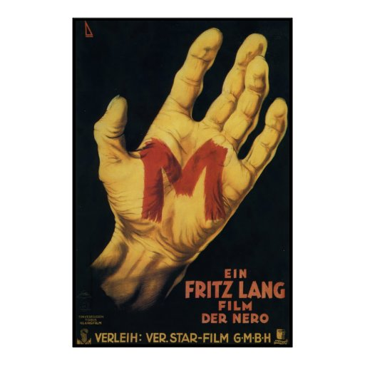 Cartaz cinematográfico 1931 do vintage de M Pôsteres
