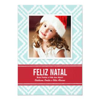 Carte Photo de Noël | Rouge et Bleu Motif Ikat Convite 12.7 X 17.78cm