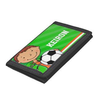 Carteira conhecida alaranjada verde do futebol fut