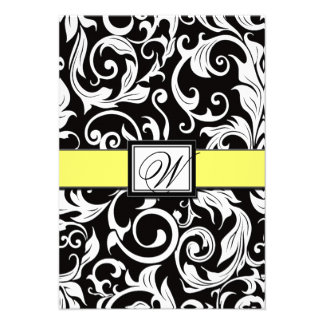 Cartões amarelos pretos do monograma do casament convite personalizado
