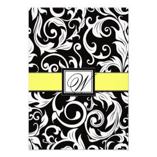 Cartões amarelos pretos do monograma do casament convite