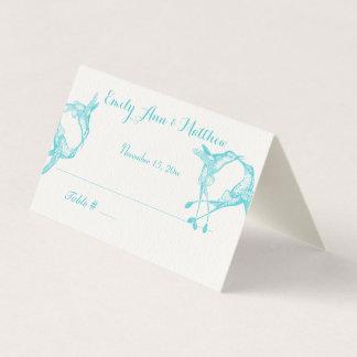 Cartões azuis do lugar do casamento do colibri do