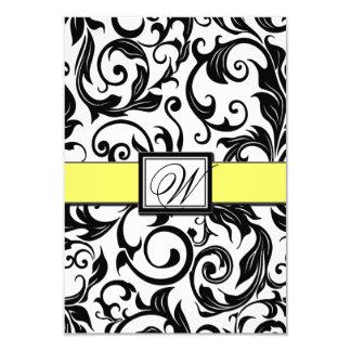 Cartões brancos & amarelos pretos do casamento convites personalizados
