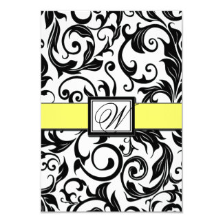 Cartões brancos & amarelos pretos do casamento convite 8.89 x 12.7cm