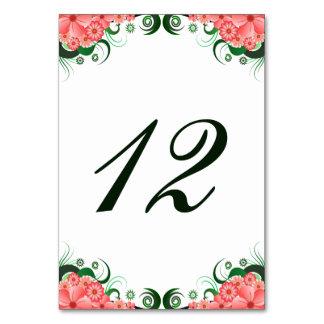 Cartões cor-de-rosa florais do número da mesa da