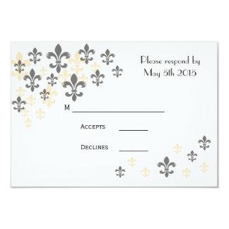 Cartões da cascata RSVP da flor de lis Convite 8.89 X 12.7cm