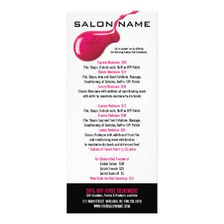 Cartões da cremalheira da tabela de preços do salã planfetos informativos coloridos