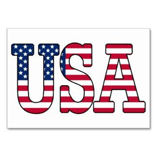 Cartões da mesa da bandeira americana dos EUA