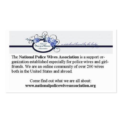 Cartões da referência da associação das esposas da cartoes de visita