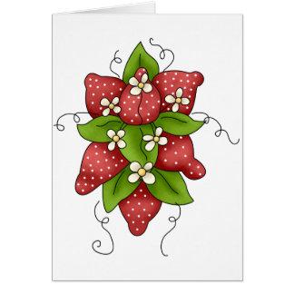 Cartões das morangos e das flores