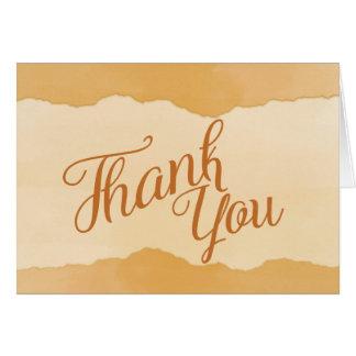 Cartões de agradecimentos alaranjados da aguarela