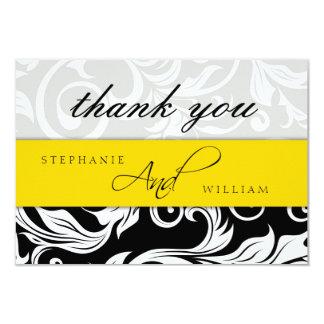 Cartões de agradecimentos amarelos do casamento convite personalizados