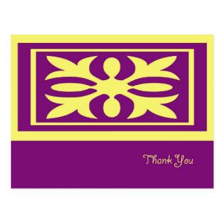 Cartões de agradecimentos amarelos do laço cartões postais