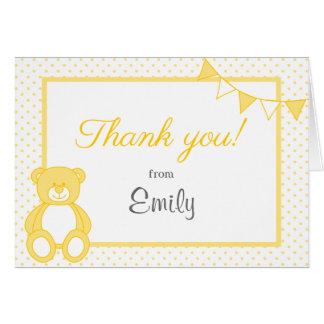 Cartões de agradecimentos amarelos do urso de