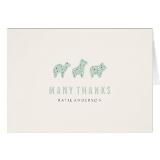 Cartões de agradecimentos animais do biscoito -