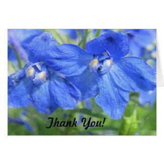 Cartões de agradecimentos azuis da flor
