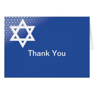 Cartões de agradecimentos azuis de Mitzvah do bar