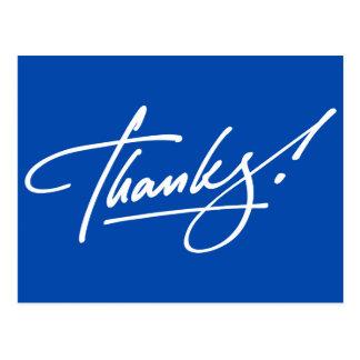 Cartões de agradecimentos azuis elétricos do