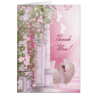 Cartões de agradecimentos bonito - rosa com cisne