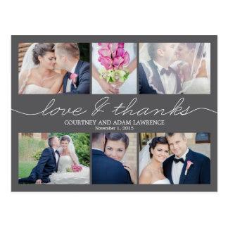 Cartões de agradecimentos bonitos do casamento da cartão postal