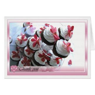Cartões de agradecimentos com bolos saborosos