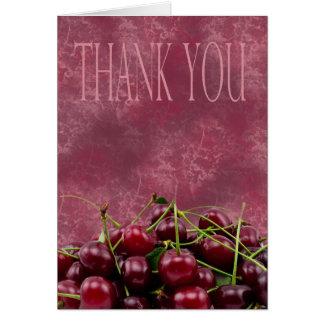 Cartões de agradecimentos com cerejas