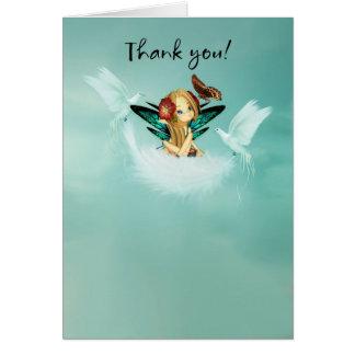 Cartões de agradecimentos com fada pequena bonito