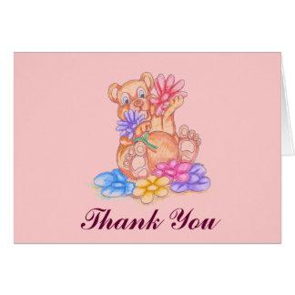 Cartões de agradecimentos com flores e urso