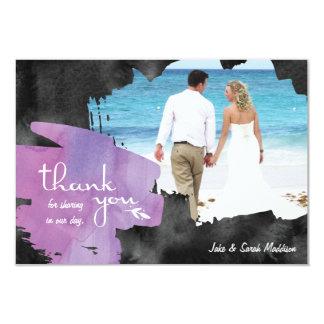 Cartões de agradecimentos com preto roxo da convite 8.89 x 12.7cm