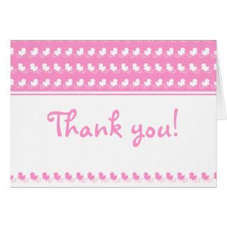 cartões de agradecimentos cor-de-rosa com patos