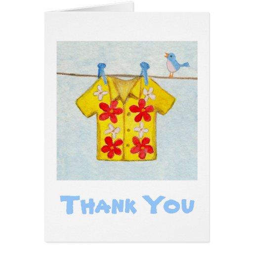 Cartões de agradecimentos da camisa havaiana