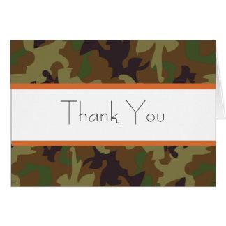 Cartões de agradecimentos da camuflagem do verde