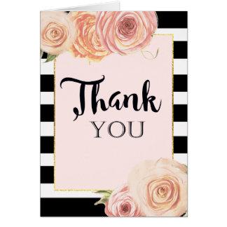Cartões de agradecimentos da flor do vintage