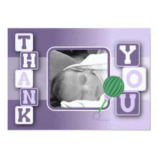 Cartões de agradecimentos da foto - chocalho dos convite 12.7 x 17.78cm