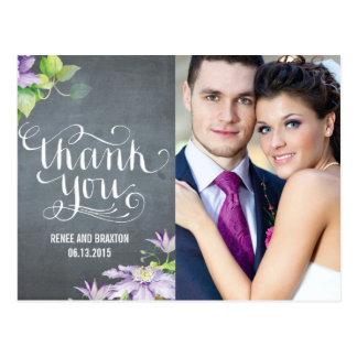 Cartões de agradecimentos da foto do casamento da cartão postal