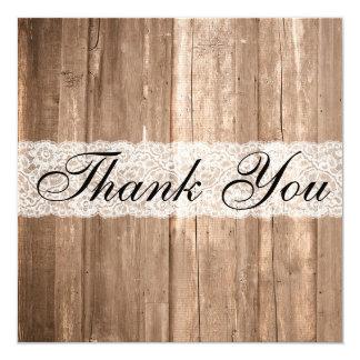 Cartões de agradecimentos da madeira de Brown do Convites
