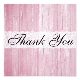 Cartões de agradecimentos da madeira do rosa do convite quadrado 13.35 x 13.35cm