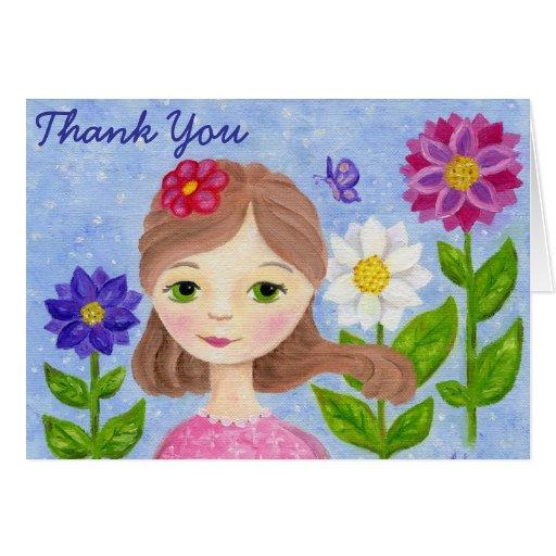 Cartões de agradecimentos da menina do jardim