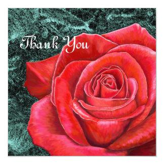 cartões de agradecimentos da rosa vermelha 5x5 convite quadrado 13.35 x 13.35cm