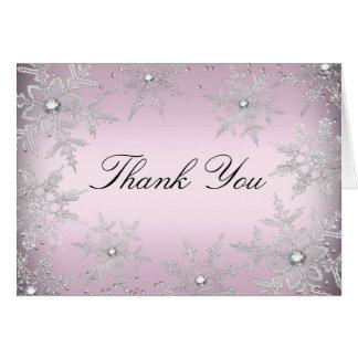 Cartões de agradecimentos de cristal cor-de-rosa