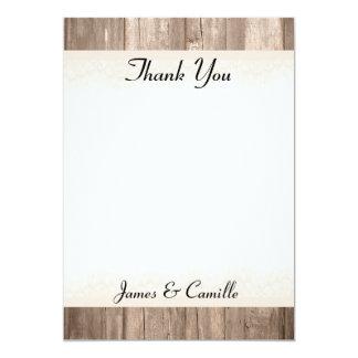 Cartões de agradecimentos de madeira laçado do convite