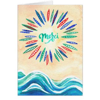 """Cartões de agradecimentos de """"Merci"""" com praia e"""