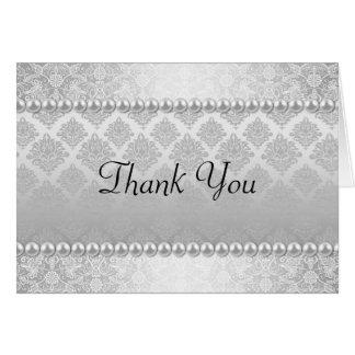 Cartões de agradecimentos de prata elegantes
