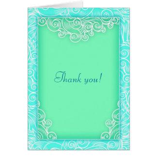 Cartões de agradecimentos do Aqua do casamento de