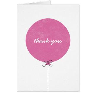 Cartões de agradecimentos do balão - fúcsia