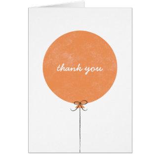 Cartões de agradecimentos do balão - laranja